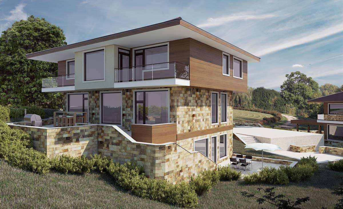 Exterior Visualization Of Family House 2