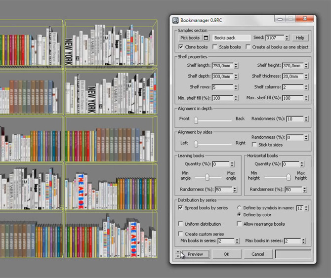 Bookmanager – 3ds Max script for easy placement of books