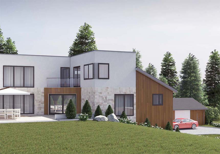 Exterior visualization of family house #1