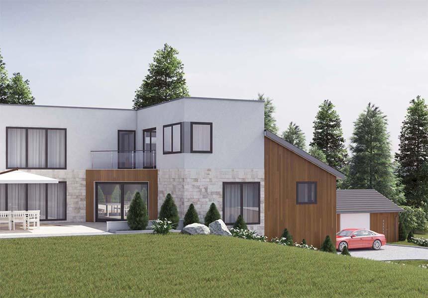 Екстериорна визуализация на фамилна къща №1