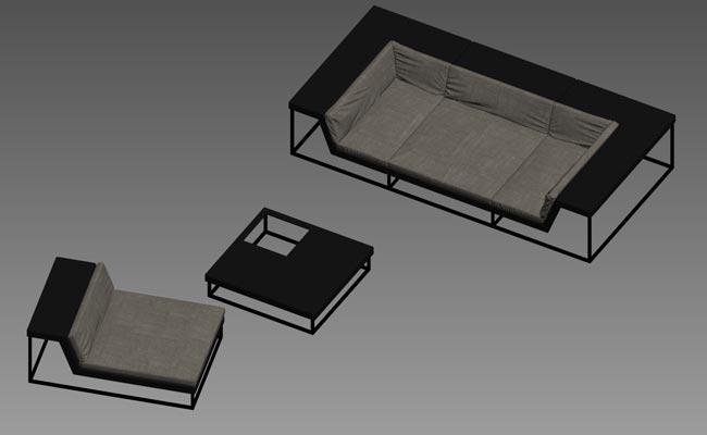 3Д модел на комплект мебели за открито от Dedon